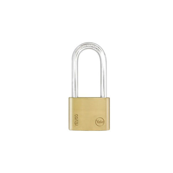 Yale Essential Series Indoor Brass Long Shackle Padlock 50mm (YE1/50/166/1)