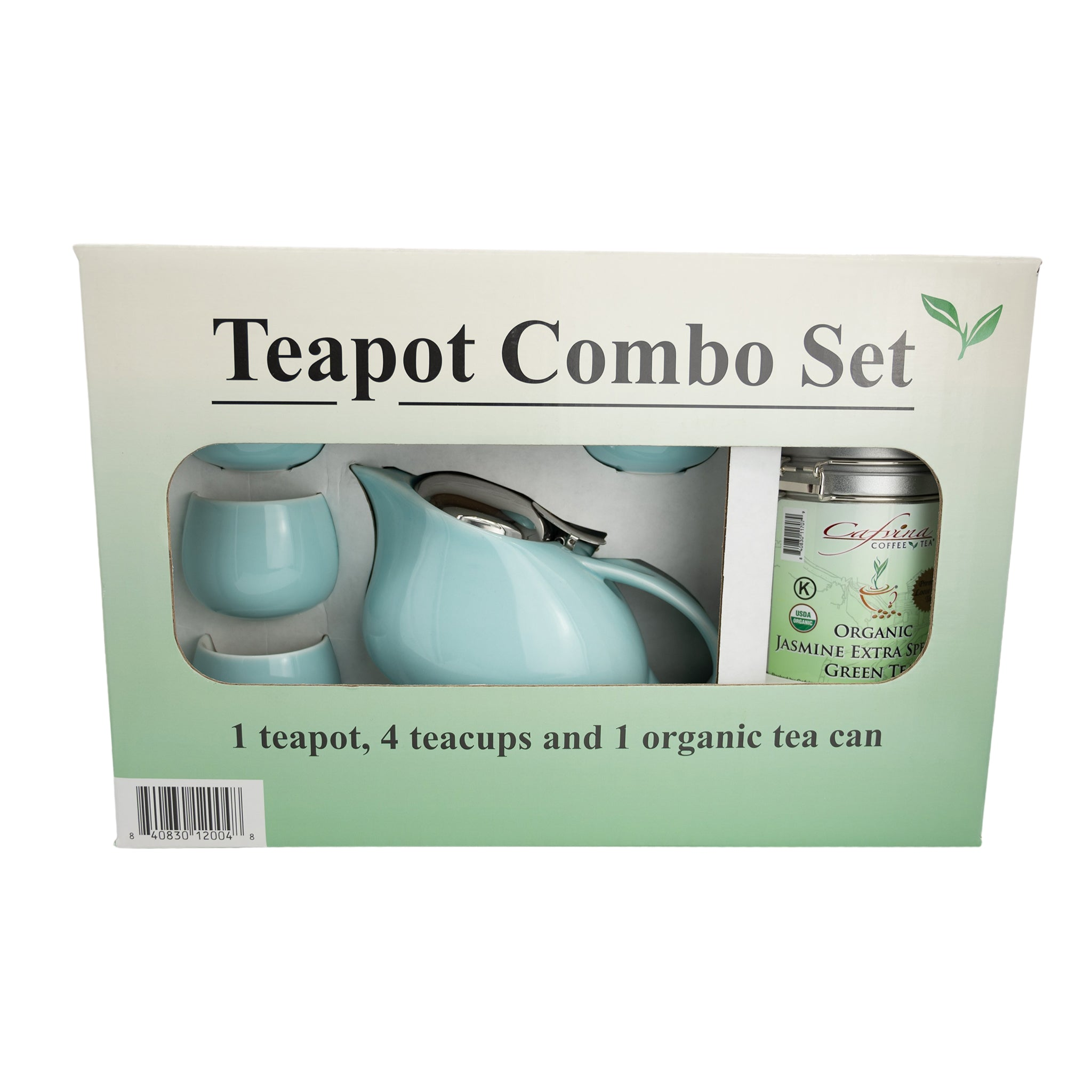 Tea Pot Set (Blue) with Organic Japanese Matcha Genmaicha Tea Bundle