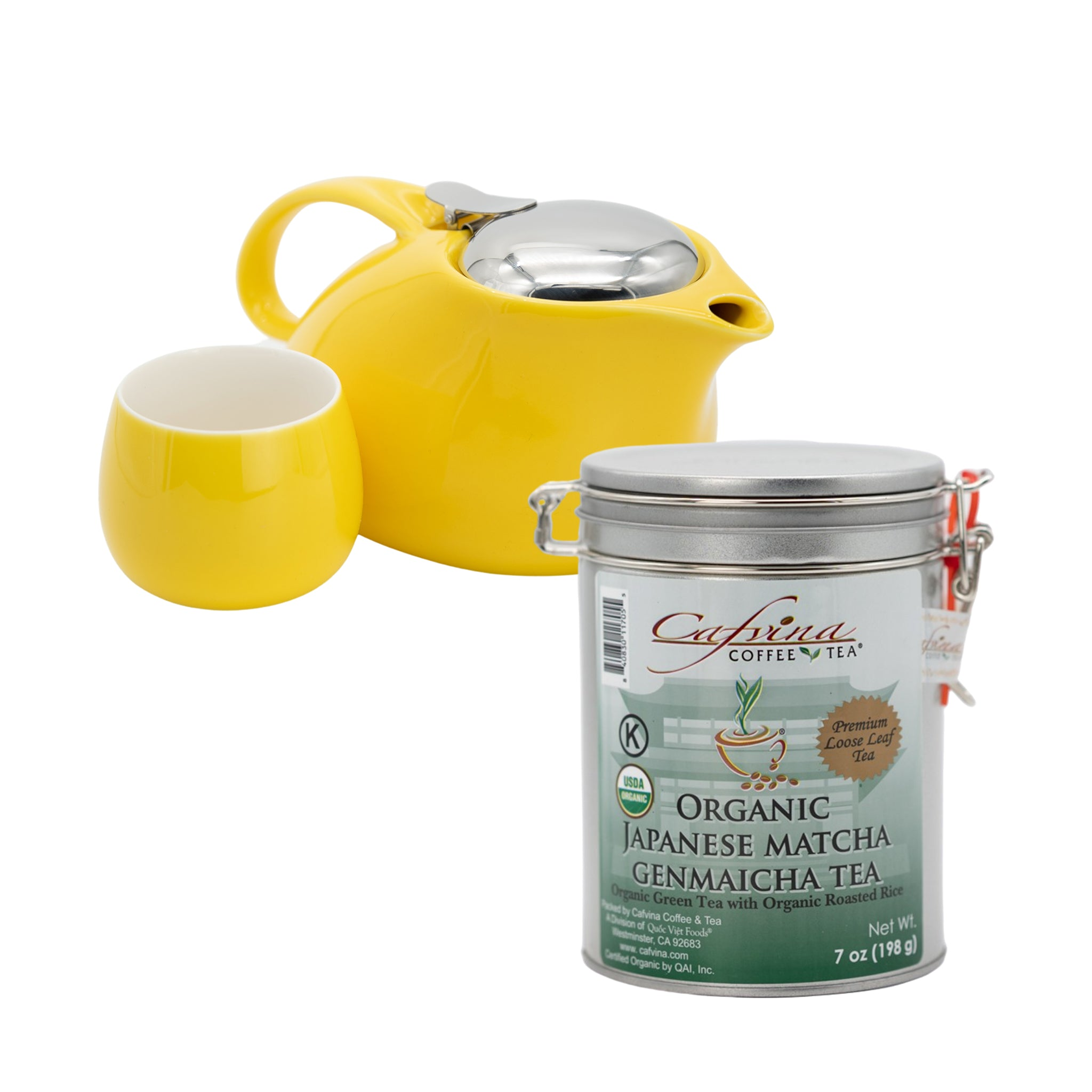 Tea Pot Set (Yellow) with Organic Japanese Matcha Genmaicha Tea Bundle