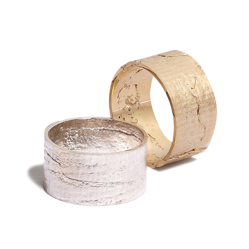 Women's Cigar Paper Ring in White Gold
