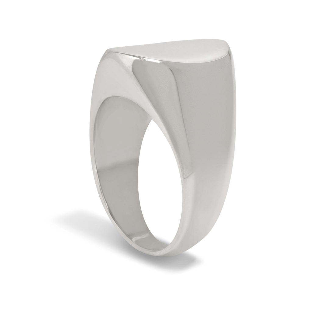 Concave Signet Ring in Silver