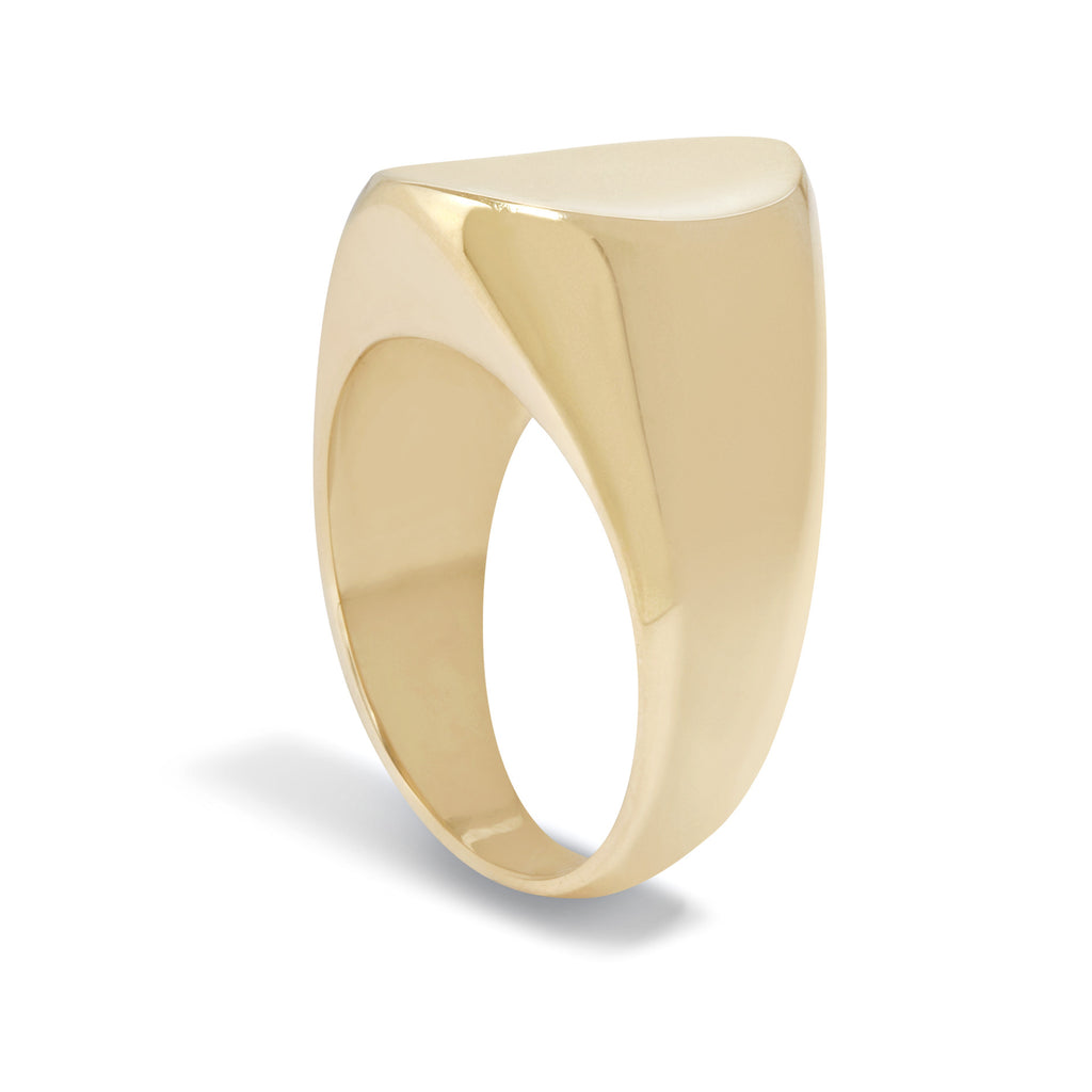 Concave Signet Ring in 9k Yellow Gold