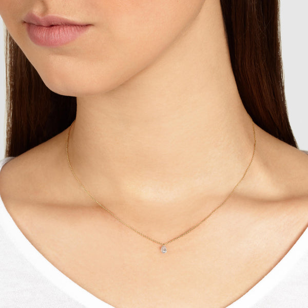 Grey Diamond Drop Necklace in Yellow Gold