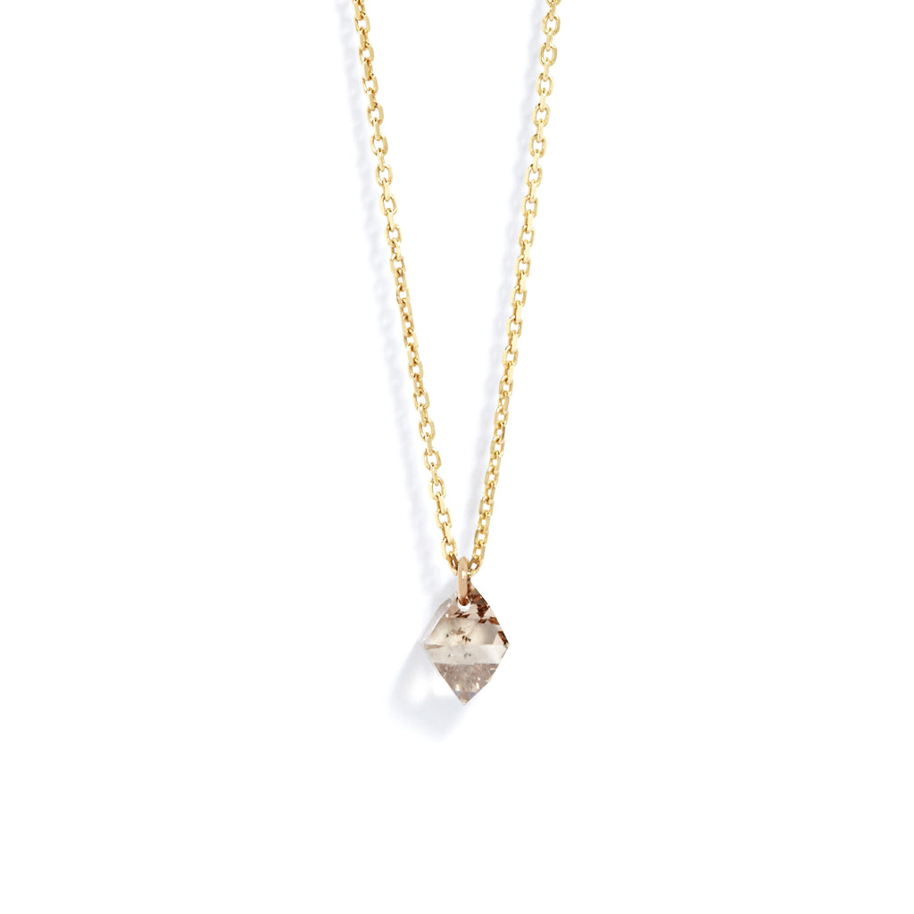 Cognac Diamond Drop Necklace in Yellow Gold