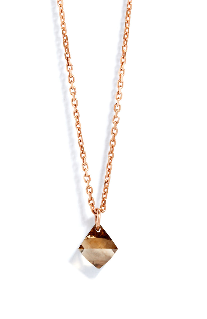 Large Diamond Drop Necklace in 18k Rose Gold