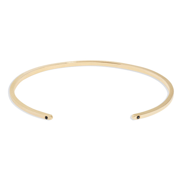 Men's Slim Cuff in Yellow Gold with Black Diamonds