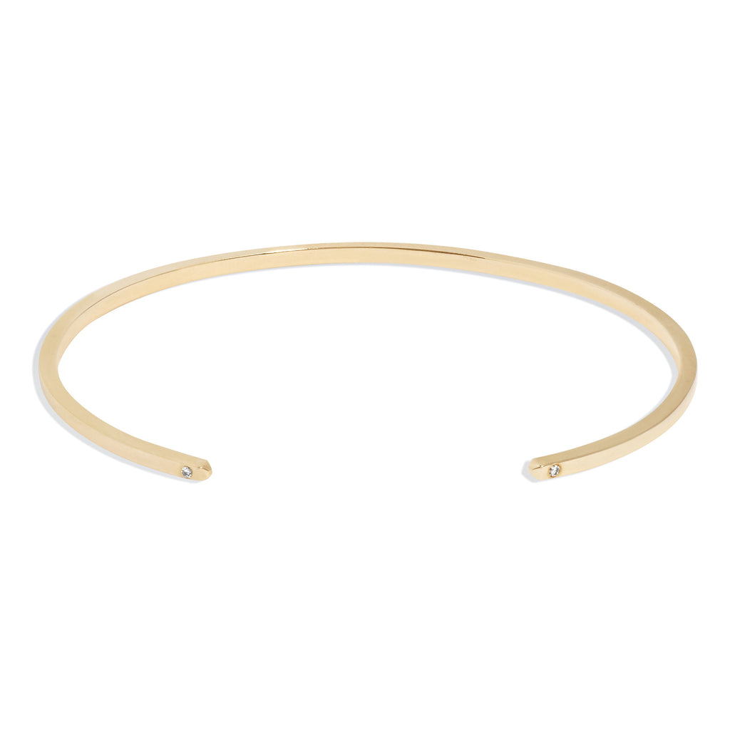 Men's Slim Cuff in Yellow Gold with White Diamonds