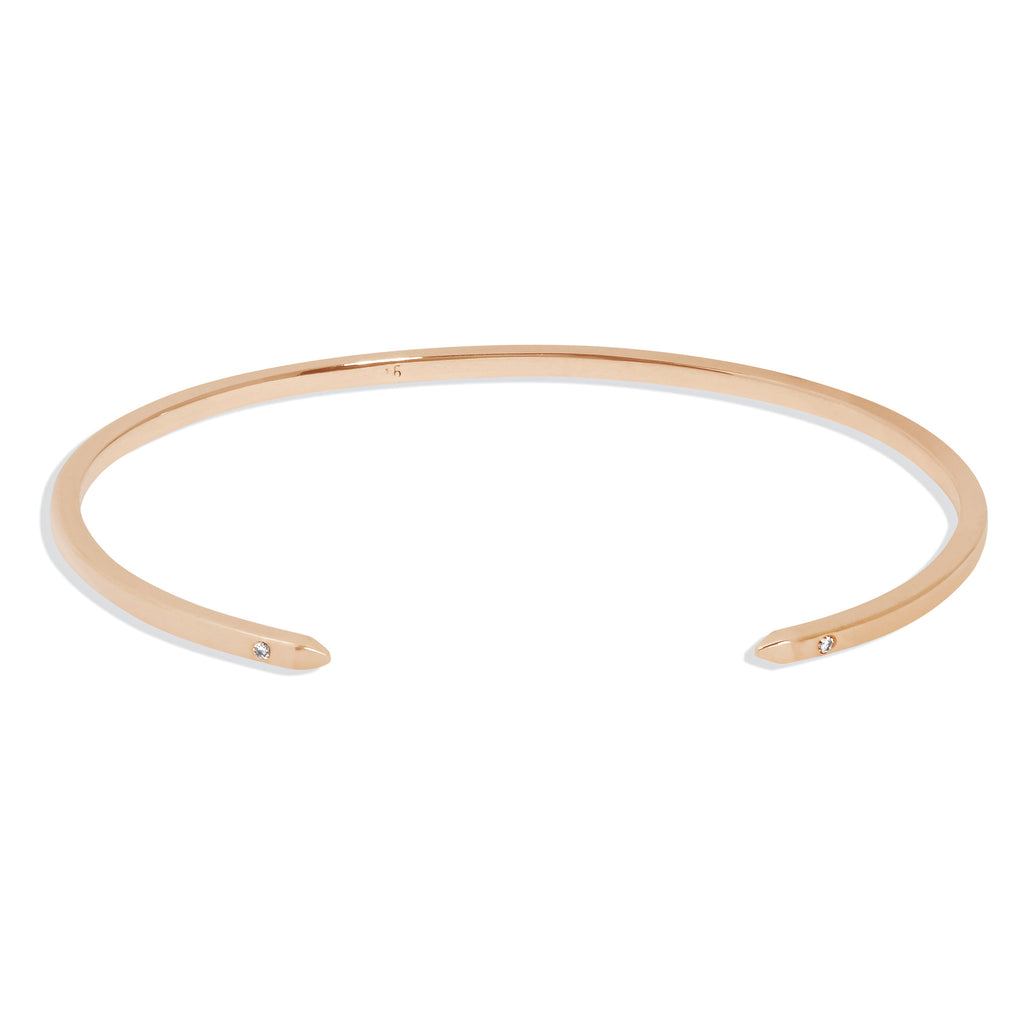Women's Cuff Bracelet in Rose Gold with White Diamonds