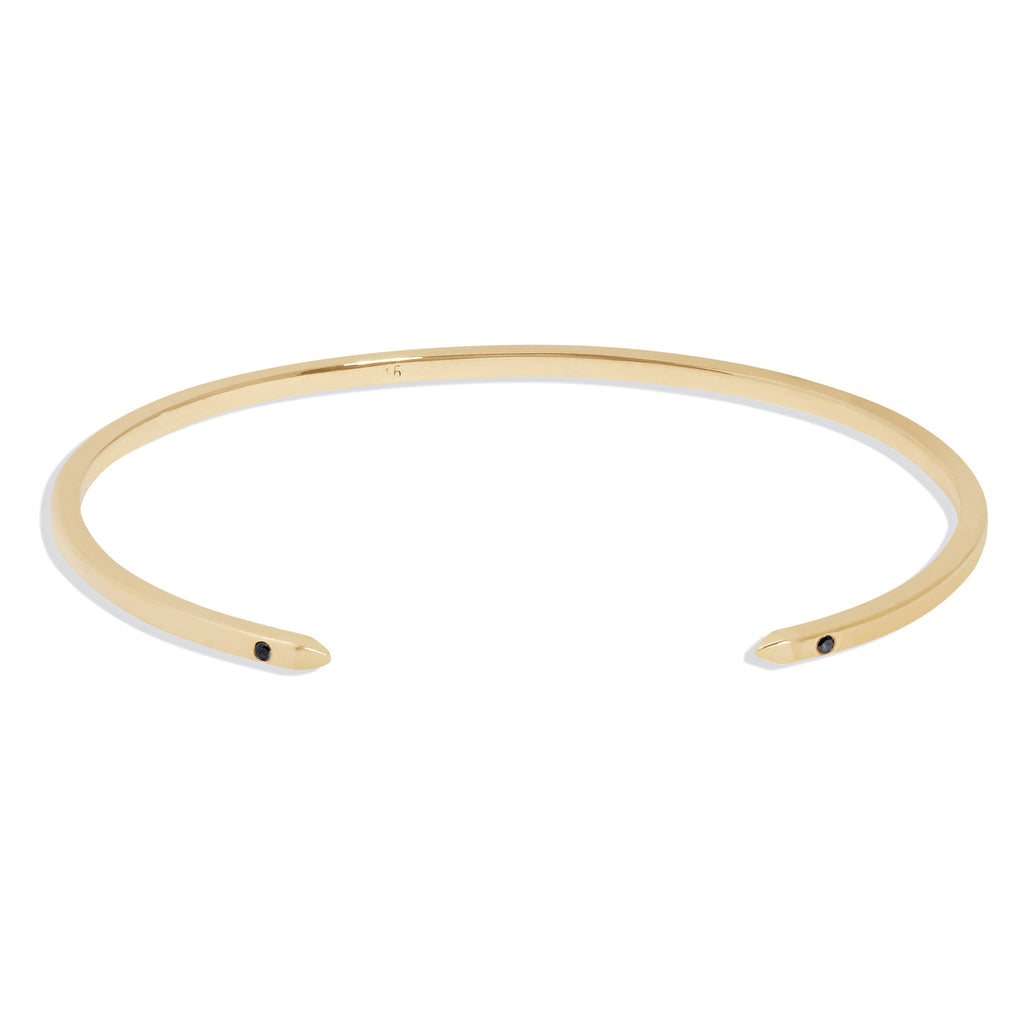 Women's Cuff Bracelet in Yellow Gold with Black Diamonds
