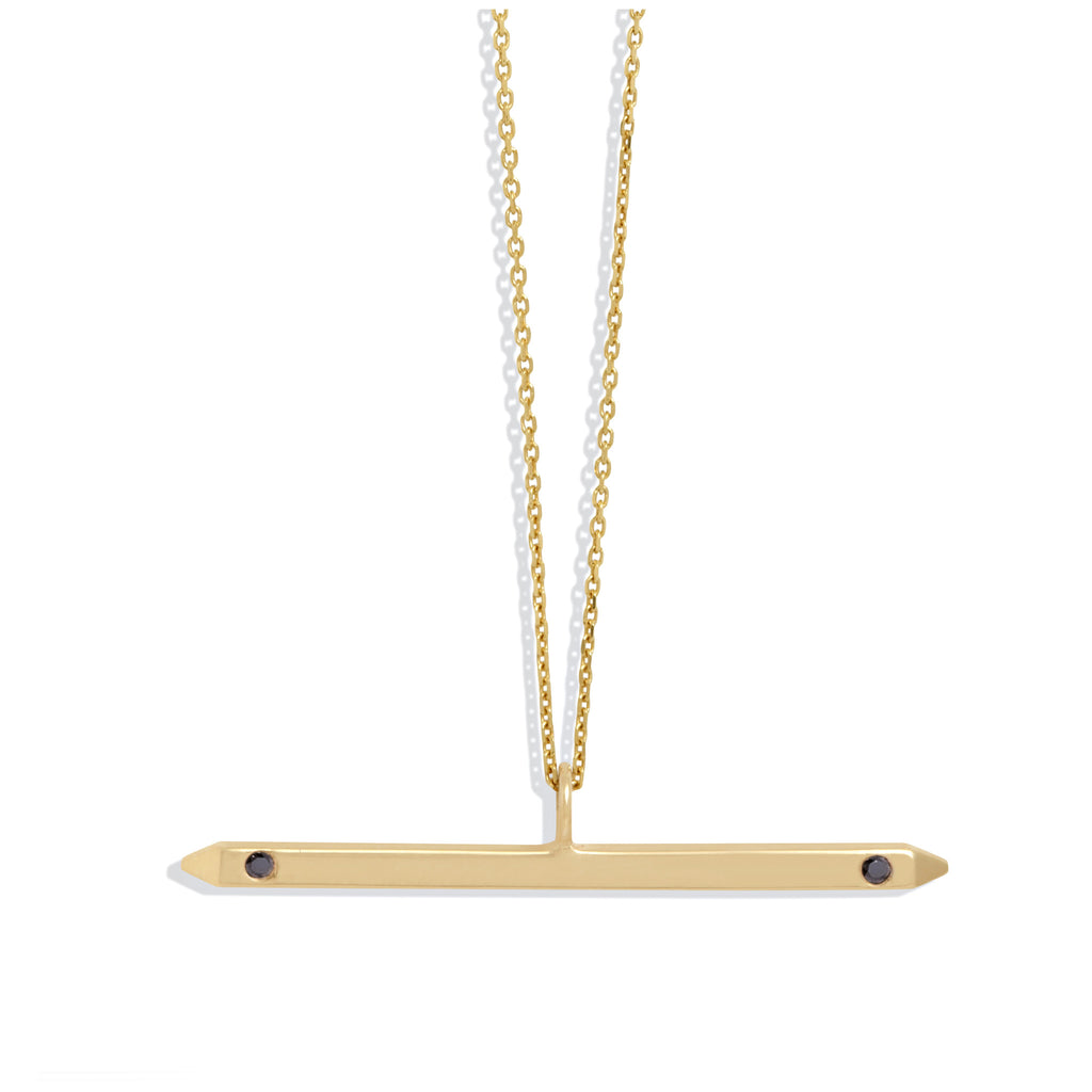Bar Necklace in Yellow Gold with Black Diamonds