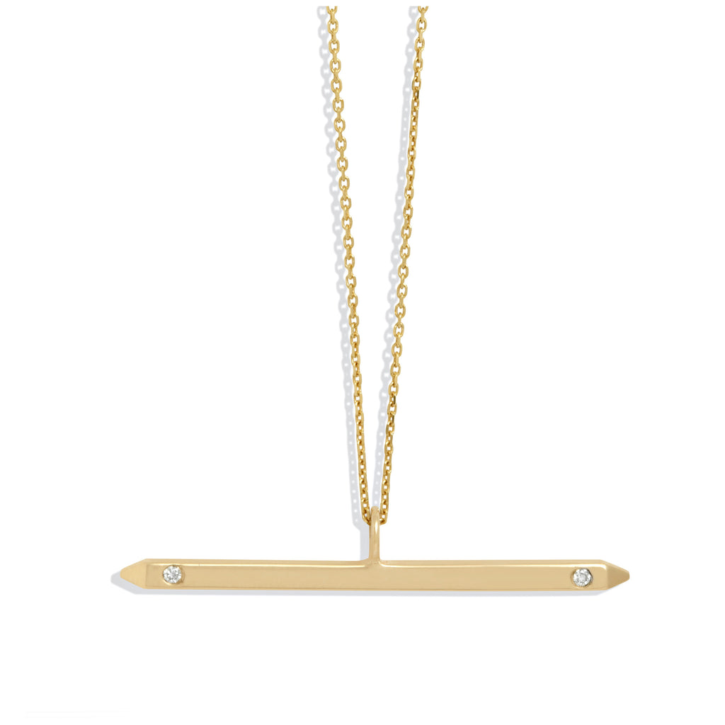 Bar Necklace in Yellow Gold with White Diamonds