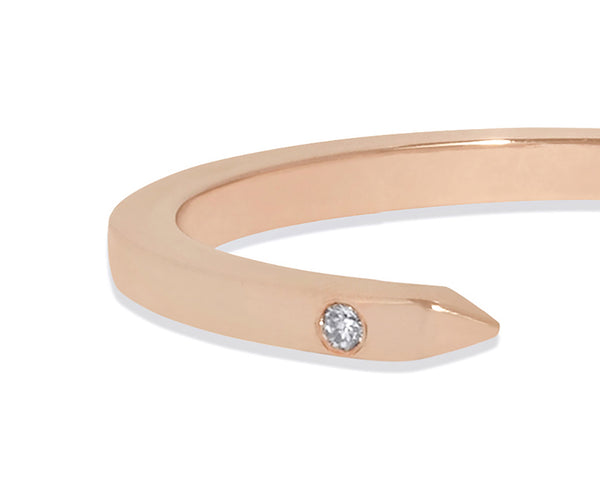 Slim Open Ring in 18k Rose Gold with White Diamonds