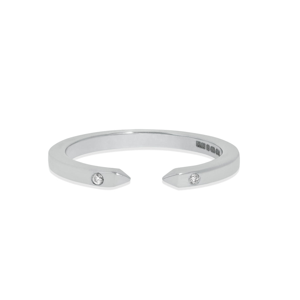 Slim Open Ring in 18k White Gold with White Diamonds