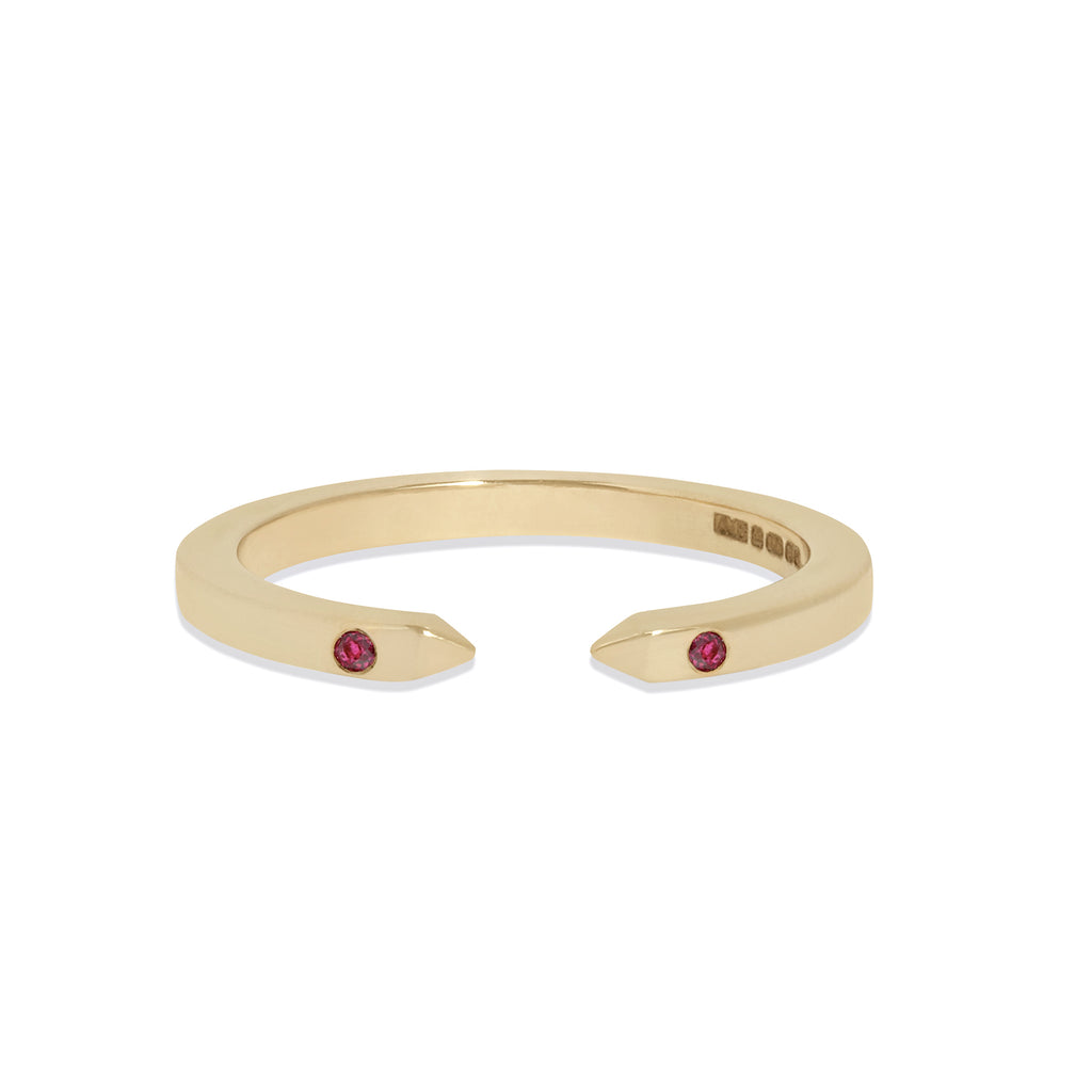 Open Ring in Yellow Gold with Rubies