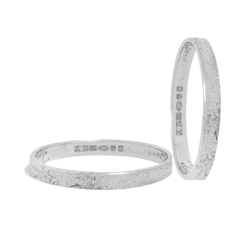 Set of Two Slim Paper Rings in Silver