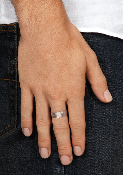 Men's Wrapped Paper Ring in White Gold
