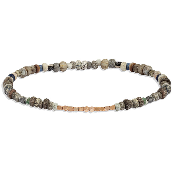 Men's Neutral Mali Beaded Bracelet with Rose Gold