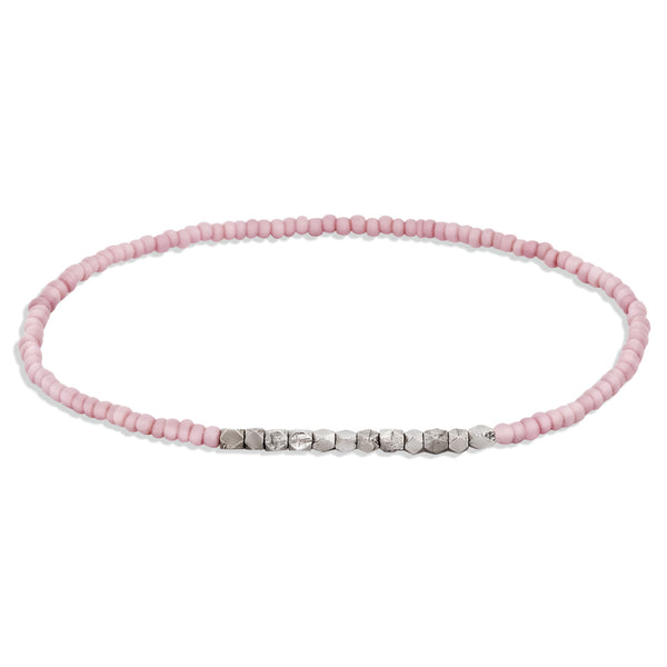 Women's Pale Lilac Beaded Bracelet with White Gold