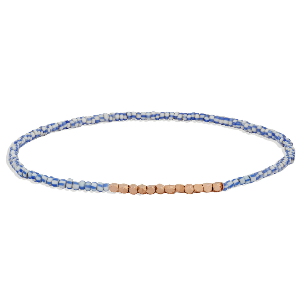 Men's Blue and White Beaded Bracelet with Rose Gold