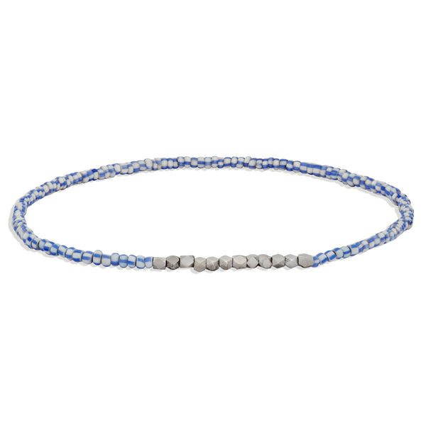 Women's Tiny Blue and White Beaded Bracelet with White Gold