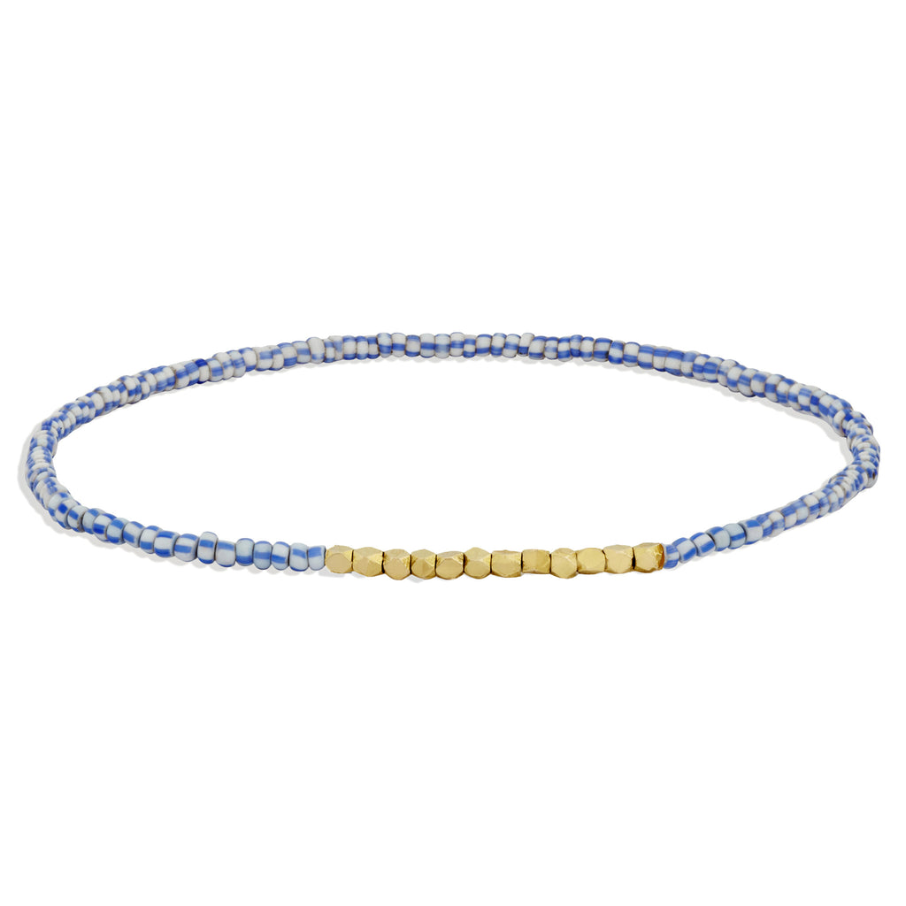 Men's Blue and White Beaded Bracelet with Yellow Gold