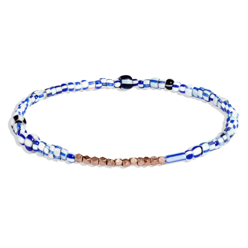 Men's Blue Mix Beaded Bracelet with Rose Gold