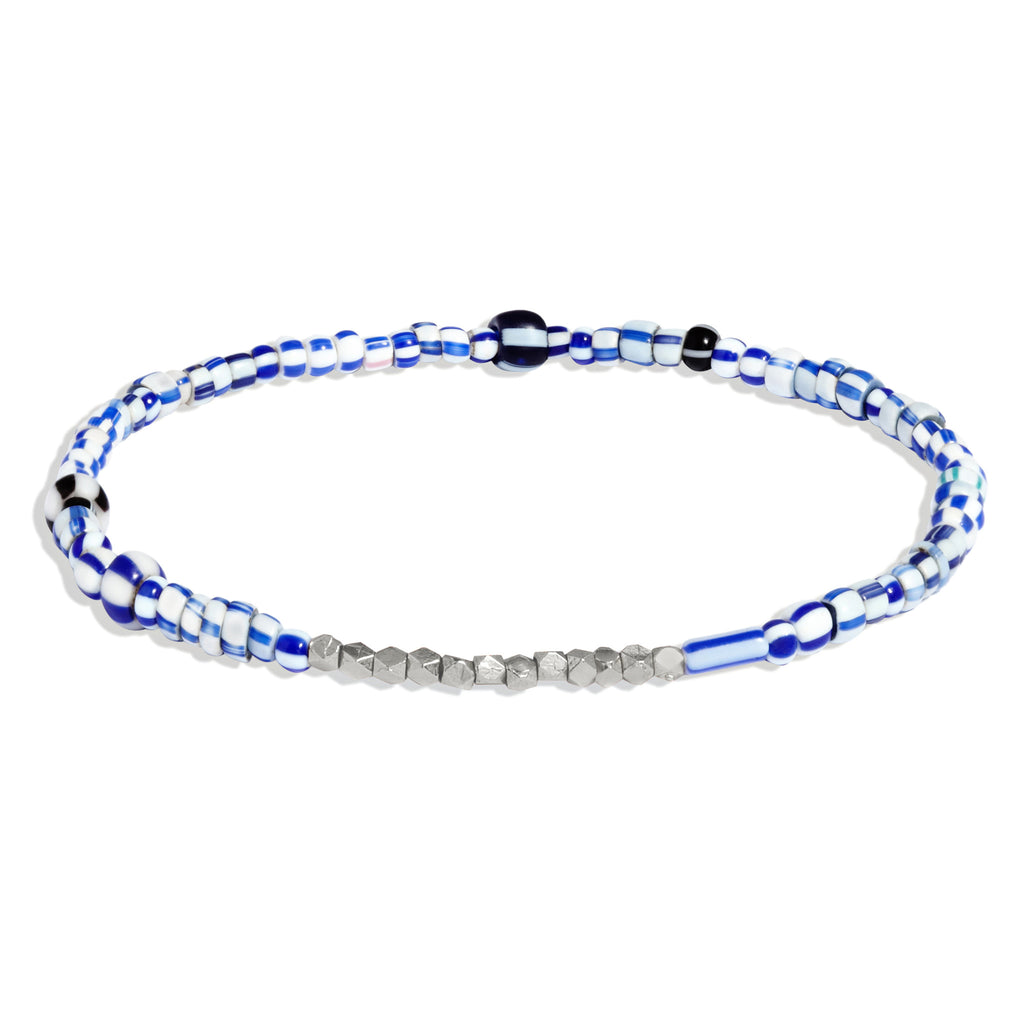 Women's Blue Mix Beaded Bracelet with White Gold