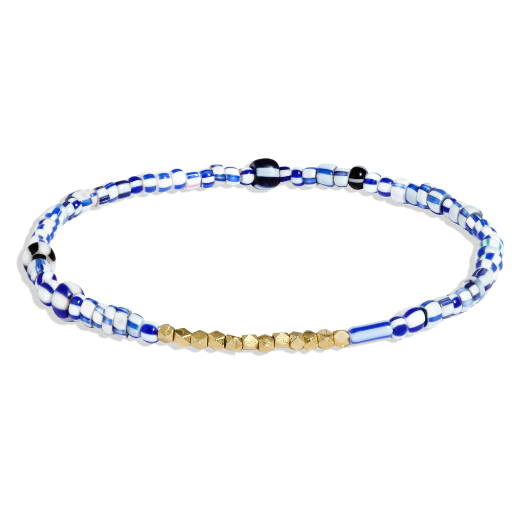 Women's Blue Mix Beaded Bracelet with Yellow Gold