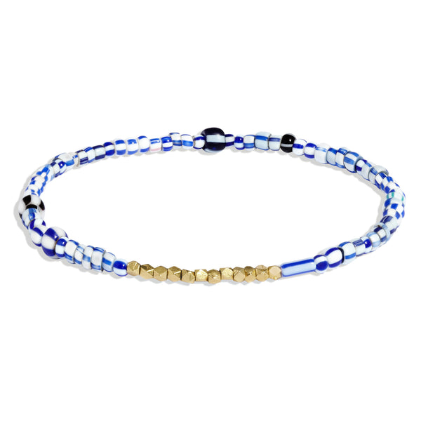 Men's Blue Mix Beaded Bracelet with Yellow Gold
