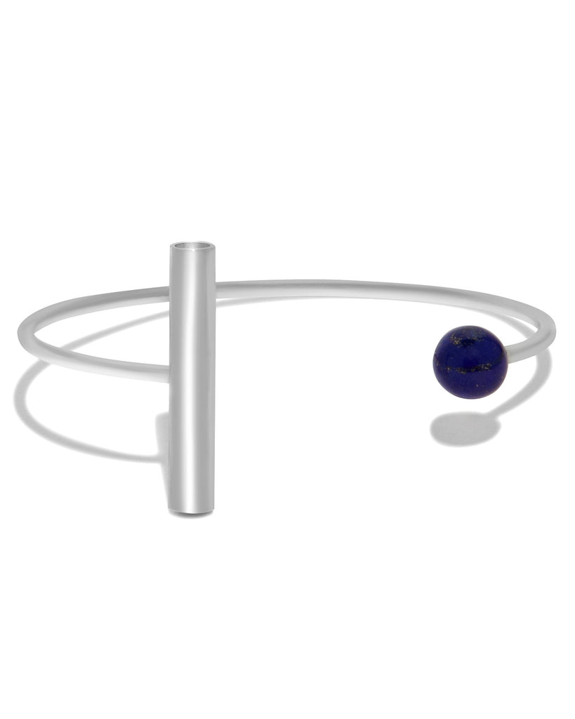 Geometric Cuff in Lapis and Sterling Silver