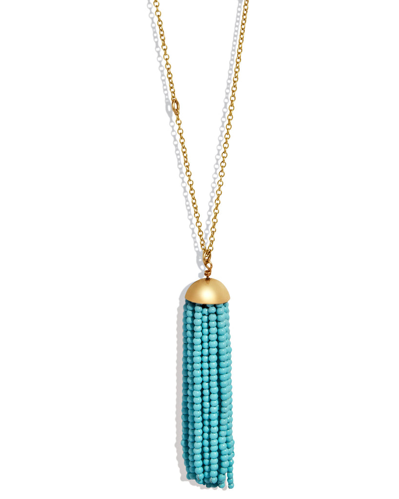 Turquoise Tassel Necklace in Yellow Gold
