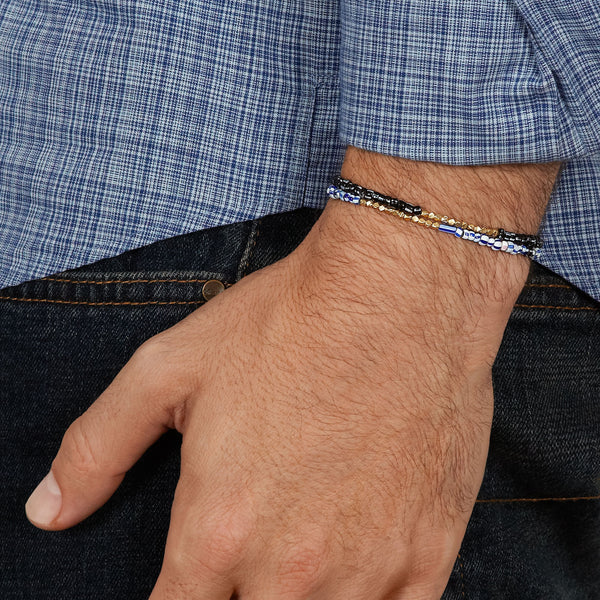 Men's Blue Mix Beaded Bracelet with White Gold