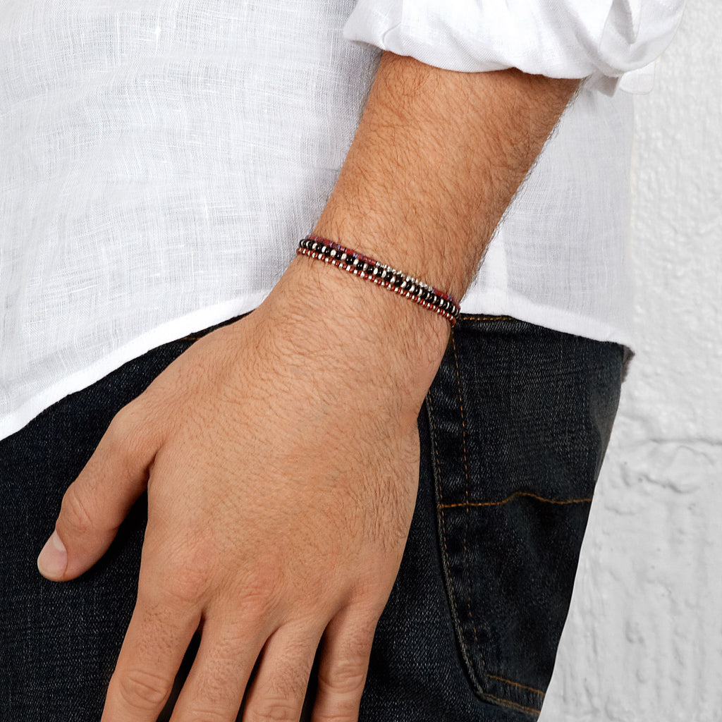 Men's Rust Beaded Bracelet with White Gold
