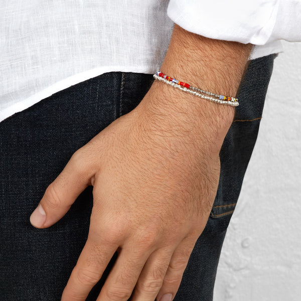 Men's Multicoloured Beaded Bracelet with White Gold