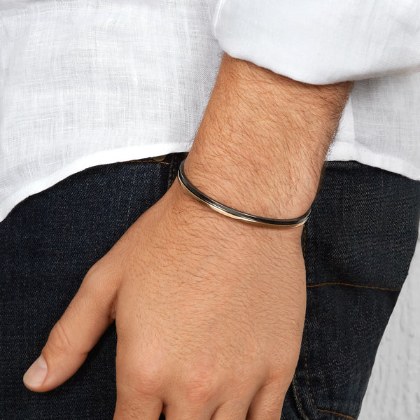 Men's Slim Cuff in White Gold with Black Diamonds