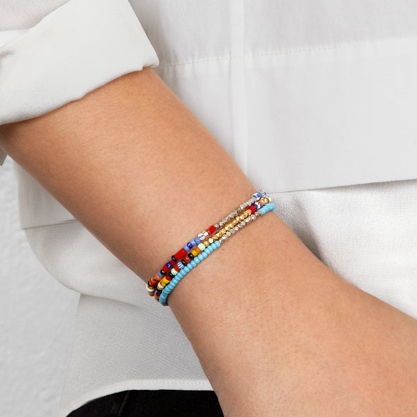 Women's Multicoloured Beaded Bracelet with White Gold