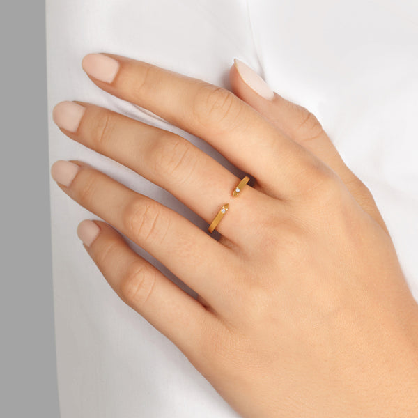 Open Ring in Yellow Gold with White Diamonds