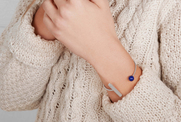 Geometric Cuff in Lapis and Silver