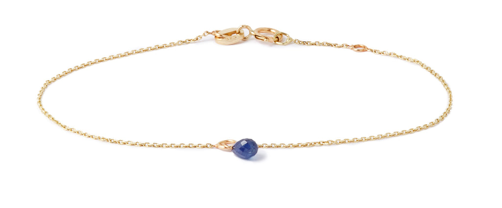Blue Sapphire Drop Bracelet in Yellow Gold
