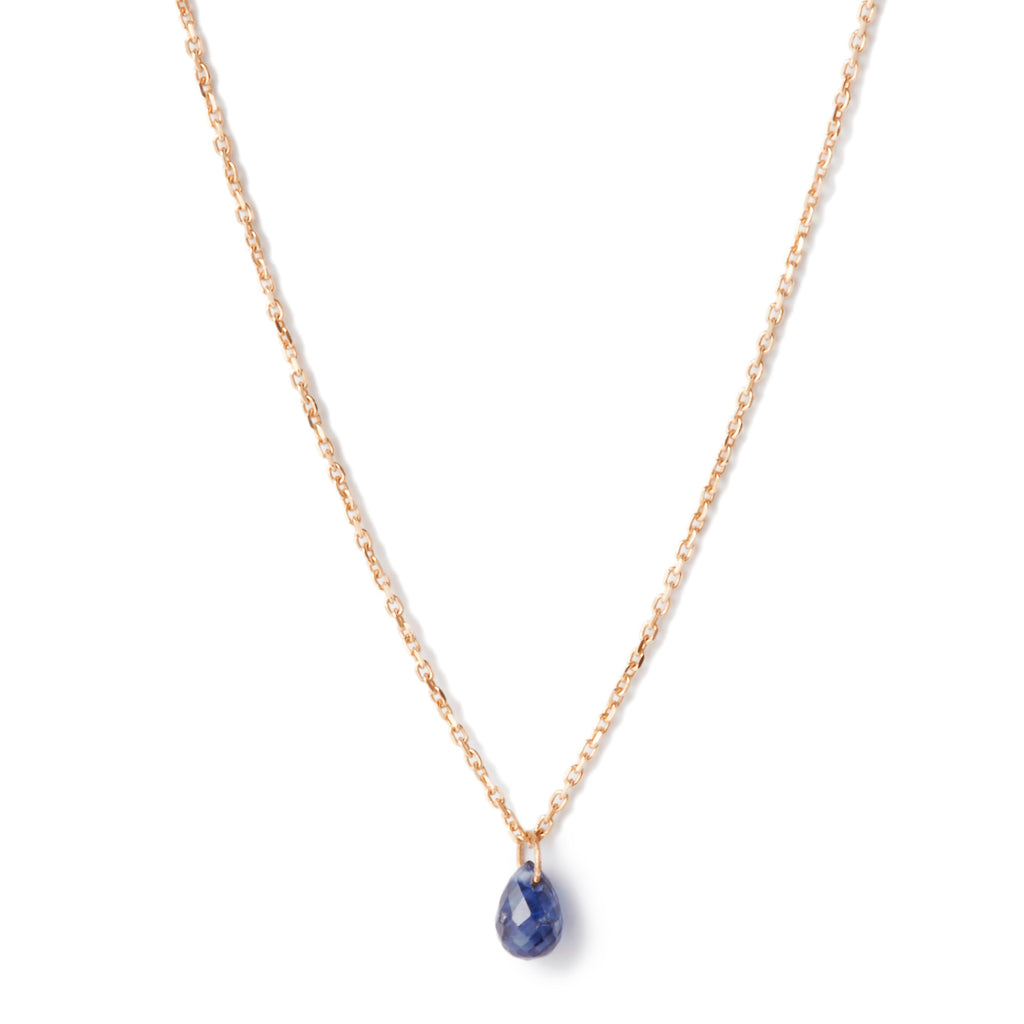 Blue Sapphire Drop Necklace in Yellow Gold