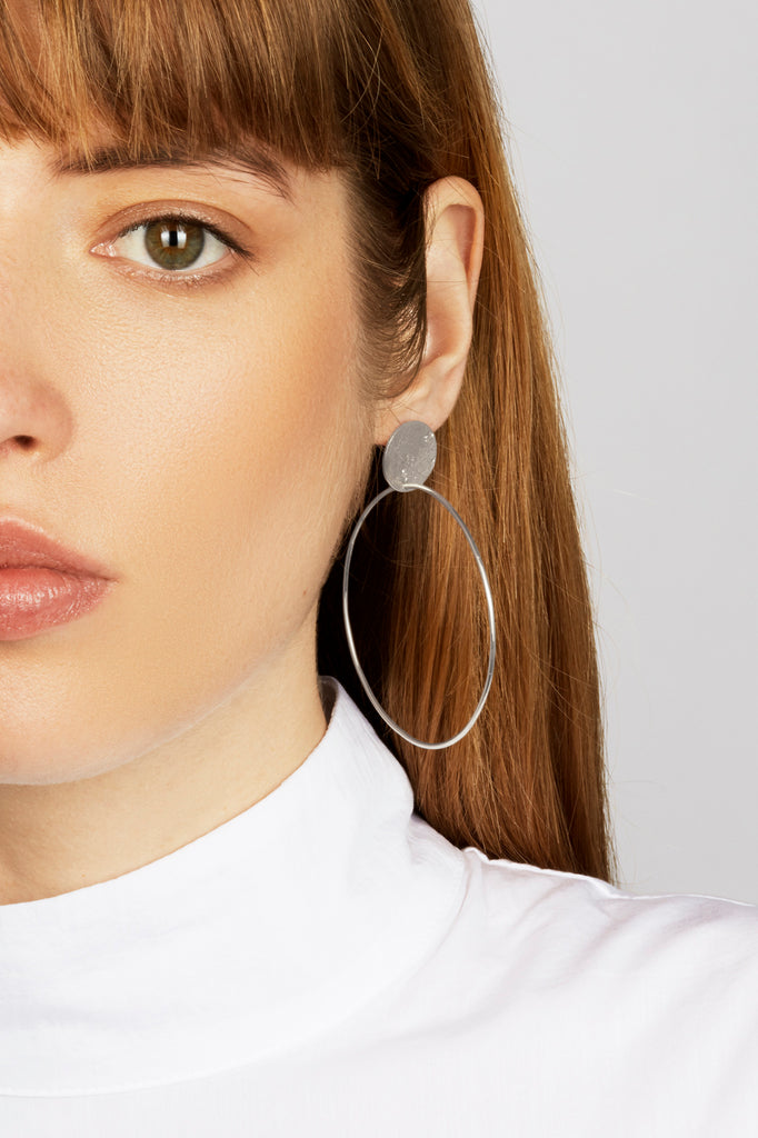 Silver Stud and Hoop Earrings