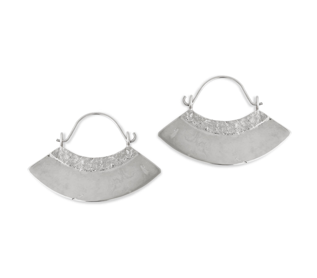 Fan Earrings in Silver