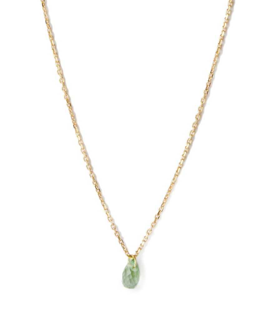 Green Sapphire Drop Necklace in Yellow Gold