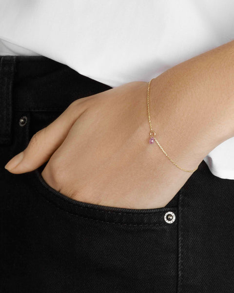 Pink Sapphire Drop Bracelet in Yellow Gold