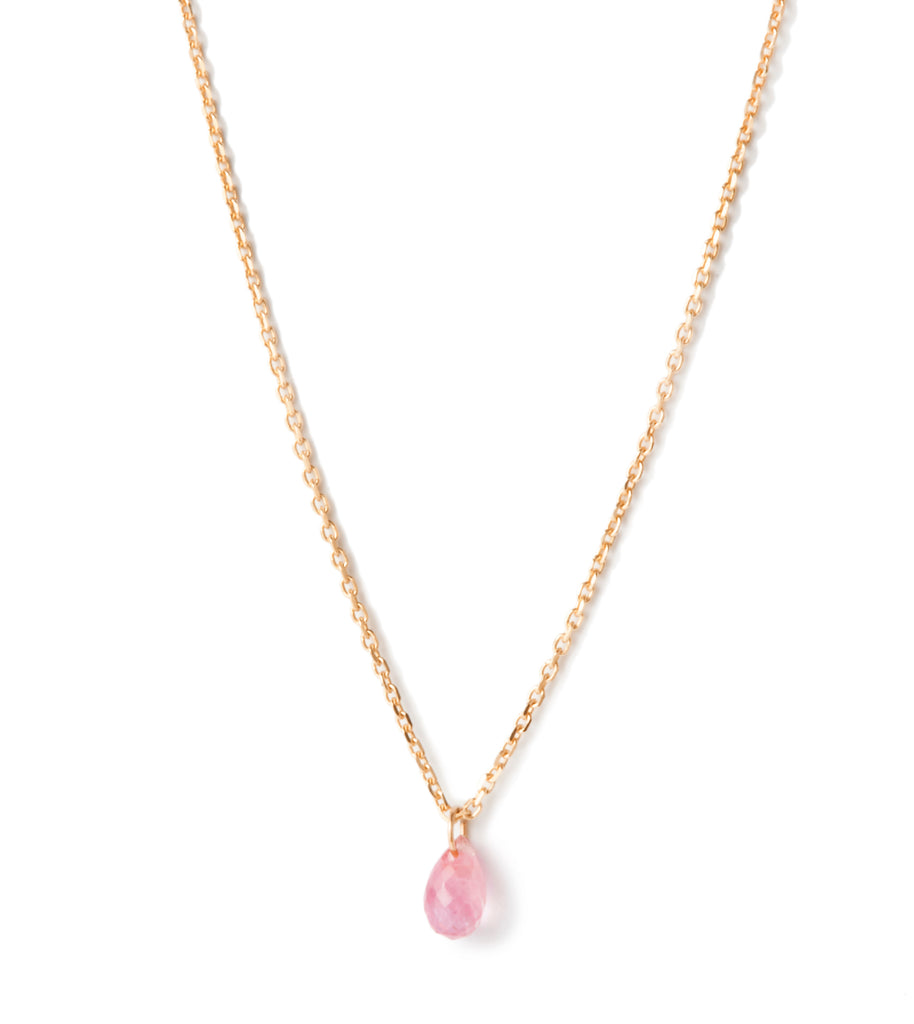 Pink Sapphire Drop Necklace in Yellow Gold