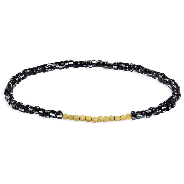 Men's Black and White Beaded Bracelet with Yellow Gold