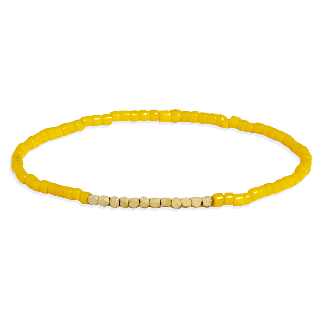 Men's Bright Yellow Beaded Bracelet with Yellow Gold