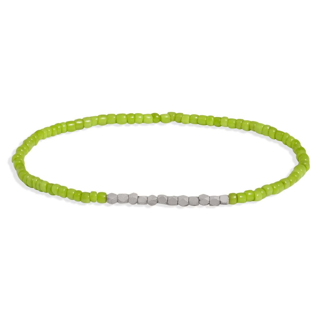 Women's Lime Green Beaded Bracelet with White Gold