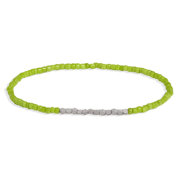 Men's Lime Green Beaded Bracelet with White Gold