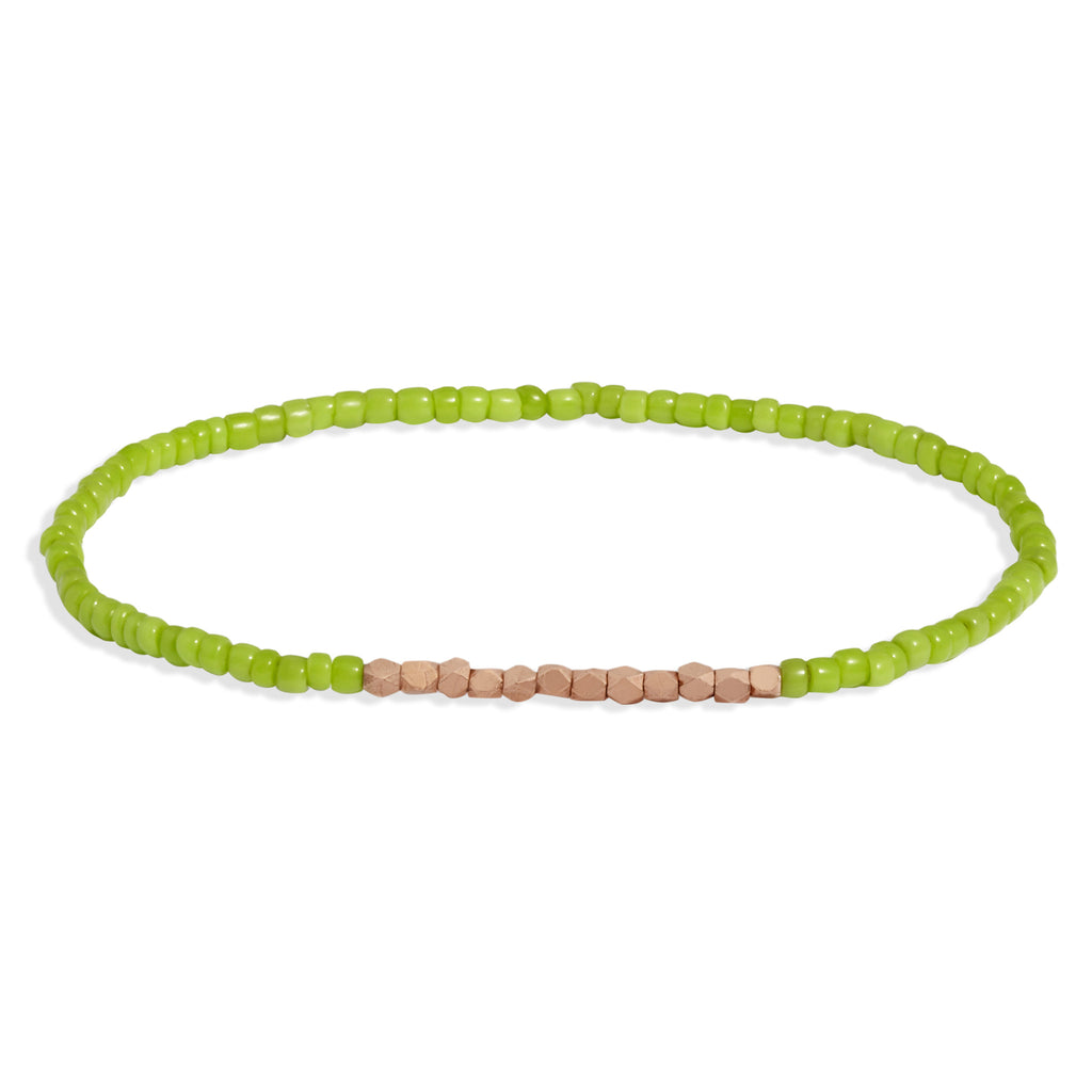 Men's Lime Green Beaded Bracelet with Rose Gold